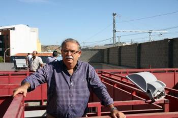 Manuel Ángel Millares en los corrales de la plaza de Tudela.