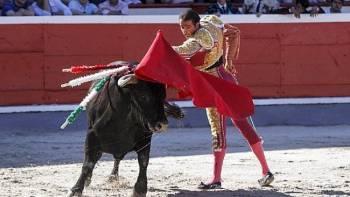 Uceda Leal vacía por arriba la embestida del primer toro de Cuadri, ayer en Azpeitia. (Ainara Garcia)